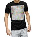 ショッピング水玉 tシャツ メンズ 半袖 ブラック デザイン XS S M L XL 2XL Tシャツ ティーシャツ T shirt 黒 008037 カラフル 水玉 模様