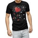 ショッピングハート tシャツ メンズ 半袖 ブラック デザイン XS S M L XL 2XL Tシャツ ティーシャツ T shirt 黒 008122 ハート 赤 レッド 模様