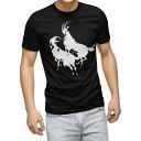 ショッピングTシャツ tシャツ メンズ 半袖 ブラック デザイン XS S M L XL 2XL Tシャツ ティーシャツ T shirt 黒 008152 やぎ 山羊 白黒 動物