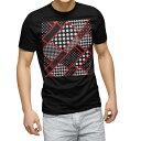 ショッピング水玉 tシャツ メンズ 半袖 ブラック デザイン XS S M L XL 2XL Tシャツ ティーシャツ T shirt 黒 008555 柄 模様 水玉 赤 レッド