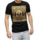 ショッピングデザイン tシャツ メンズ 半袖 ブラック デザイン XS S M L XL 2XL Tシャツ ティーシャツ T shirt 黒 008879 ドクロ 髑髏 黄色 イエロー
