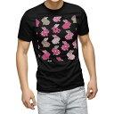 ショッピングうさぎ tシャツ メンズ 半袖 ブラック デザイン XS S M L XL 2XL Tシャツ ティーシャツ T shirt 黒 008902 うさぎ イラスト ピンク 水玉