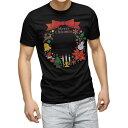 tシャツ メンズ 半袖 ブラック デザイン XS S M L XL 2XL Tシャツ ティーシャツ T shirt 黒 009453 クリスマス カラフル リボン