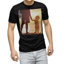 tシャツ メンズ 半袖 ブラック デザイン XS S M L XL 2XL Tシャツ ティーシャツ T shirt 黒 009709 親子 海 写真
