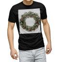 ショッピングクリスマスリース tシャツ メンズ 半袖 ブラック デザイン XS S M L XL 2XL Tシャツ ティーシャツ T shirt 黒 009963 クリスマス リース