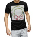 ショッピングクリスマスリース tシャツ メンズ 半袖 ブラック デザイン XS S M L XL 2XL Tシャツ ティーシャツ T shirt 黒 010072 クリスマス リース シンプル