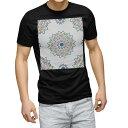 tシャツ メンズ 半袖 ブラック デザイン XS S M L XL 2XL Tシャツ ティーシャツ T shirt 黒 010098 アジアン 模様 カラフル