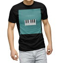 ショッピングピアノ tシャツ メンズ 半袖 ブラック デザイン XS S M L XL 2XL Tシャツ ティーシャツ T shirt 黒 010400 ピアノ 音楽 緑
