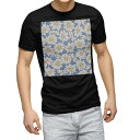 tシャツ メンズ 半袖 ブラック デザイン XS S M L XL 2XL Tシャツ ティーシャツ T shirt 黒 011108 マーガレット 花 青