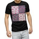 ショッピングハート tシャツ メンズ 半袖 ブラック デザイン XS S M L XL 2XL Tシャツ ティーシャツ T shirt 黒 011191 唇 ハート ピンク