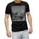 ショッピング半袖 tシャツ メンズ 半袖 ブラック デザイン XS S M L XL 2XL Tシャツ ティーシャツ T shirt 黒 011331 夜景 写真 モノクロ