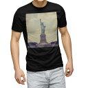 ショッピング黒 tシャツ メンズ 半袖 ブラック デザイン XS S M L XL 2XL Tシャツ ティーシャツ T shirt 黒 011333 外国 ニューヨーク 自由の女神