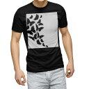 ショッピングモノトーン tシャツ メンズ 半袖 ブラック デザイン XS S M L XL 2XL Tシャツ ティーシャツ T shirt 黒 012194 蝶 モノトーン 白黒