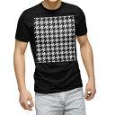 ショッピングモノトーン tシャツ メンズ 半袖 ブラック デザイン XS S M L XL 2XL Tシャツ ティーシャツ T shirt 黒 012423 千鳥 柄 モノトーン