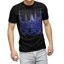 ショッピングイルミネーション tシャツ メンズ 半袖 ブラック デザイン XS S M L XL 2XL Tシャツ ティーシャツ T shirt 黒 012700 夜景 イルミネーション 景色