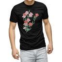 tシャツ メンズ 半袖 ブラック デザイン XS S M L XL 2XL Tシャツ ティーシャツ T shirt 黒 012920 母の日 カーネーション 花