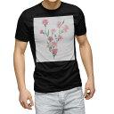 ショッピング半袖 tシャツ メンズ 半袖 ブラック デザイン XS S M L XL 2XL Tシャツ ティーシャツ T shirt 黒 012921 母の日 カーネーション 花