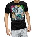 ショッピングラック tシャツ メンズ 半袖 ブラック デザイン XS S M L XL 2XL Tシャツ ティーシャツ T shirt 黒 013520 コミック カラフル ボーダー