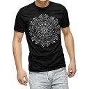 tシャツ メンズ 半袖 ブラック デザイン XS S M L XL 2XL Tシャツ ティーシャツ T shirt 黒 013596 花 モノトーン サイケデリック