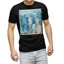 ショッピングデザイン tシャツ メンズ 半袖 ブラック デザイン XS S M L XL 2XL Tシャツ ティーシャツ T shirt 黒 014168 風景 木 植物