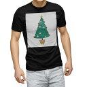 ショッピングクリスマスツリー tシャツ メンズ 半袖 ブラック デザイン XS S M L XL 2XL Tシャツ ティーシャツ T shirt 黒 014373 クリスマス ツリー