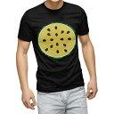 tシャツ メンズ 半袖 ブラック デザイン XS S M L XL 2XL Tシャツ ティーシャツ T shirt 黒 014412 スイカ 黄色 夏