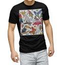 tシャツ メンズ 半袖 ブラック デザイン XS S M L XL 2XL Tシャツ ティーシャツ T shirt 黒 014839 鳥 カラフル 動物