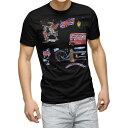 ショッピングTシャツ tシャツ メンズ 半袖 ブラック デザイン XS S M L XL 2XL Tシャツ ティーシャツ T shirt 黒 014851 ロンドン 街 イラスト