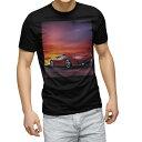 ショッピング写真 tシャツ メンズ 半袖 ブラック デザイン XS S M L XL 2XL Tシャツ ティーシャツ T shirt 黒 014992 景色 夜景 風景 写真 車