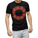 ショッピングクリスマスリース tシャツ メンズ 半袖 ブラック デザイン XS S M L XL 2XL Tシャツ ティーシャツ T shirt 黒 015604 クリスマス リース ポインセチア