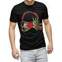 ショッピング正月飾り tシャツ メンズ 半袖 ブラック デザイン XS S M L XL 2XL Tシャツ ティーシャツ T shirt 黒 015618 正月飾り 元旦 正月