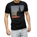 ショッピング写真 tシャツ メンズ 半袖 ブラック デザイン XS S M L XL 2XL Tシャツ ティーシャツ T shirt 黒 015753 夕焼け 景色 写真