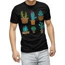 ショッピング多肉植物 tシャツ メンズ 半袖 ブラック デザイン XS S M L XL 2XL Tシャツ ティーシャツ T shirt 黒 015939 サボテン 多肉植物 庭