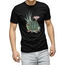 ショッピング多肉植物 tシャツ メンズ 半袖 ブラック デザイン XS S M L XL 2XL Tシャツ ティーシャツ T shirt 黒 015950 サボテン 多肉植物