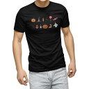ショッピングハロウィン tシャツ メンズ 半袖 ブラック デザイン XS S M L XL 2XL Tシャツ ティーシャツ T shirt 黒 017468 ハロウィン かわいい かぼちゃ おばけ お菓子