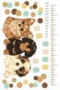 ウォールステッカー 身長計 記念 犬 dog ドット 90×60cm シール式 装飾 おしゃれ 壁紙 はがせる 剥がせる カッティングシート wall sticker 雑貨 ガラス 窓 DIY プチリフォーム