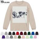 選べる19カラー tシャツ メンズ レディース ユニセックス unisex 長袖 デザイン XS S M L XL 2XL Tシャツ ティーシャツ T shirt 014370 サーフィン ヤシの木