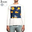 ショッピングイラスト ロング tシャツ メンズ 長袖 ホワイト グレー デザイン XS S M L XL 2XL Tシャツ ティーシャツ T shirt long sleeve 003999 宇宙 イラスト 紺