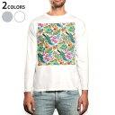 ショッピングTシャツ ロング tシャツ メンズ 長袖 ホワイト グレー デザイン XS S M L XL 2XL Tシャツ ティーシャツ T shirt long sleeve 005408 鳥 動物 模様 花