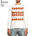 ショッピングイラスト ロング tシャツ メンズ 長袖 ホワイト グレー デザイン XS S M L XL 2XL Tシャツ ティーシャツ T shirt long sleeve 005855 りんご 林檎 イラスト