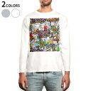 ショッピングスプレー ロング tシャツ メンズ 長袖 ホワイト グレー デザイン XS S M L XL 2XL Tシャツ ティーシャツ T shirt long sleeve 006933 カラフル インク スプレー
