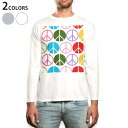 ロング tシャツ メンズ 長袖 ホワイト グレー デザイン XS S M L XL 2XL Tシャツ ティーシャツ T shirt long sleeve 007103 ピースマーク 模様
