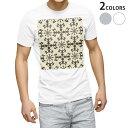 ショッピングマスク スポーツ メーカー tシャツ メンズ 半袖 ホワイト グレー デザイン XS S M L XL 2XL Tシャツ ティーシャツ T shirt 000292 ダマスク 花 ゴージャス