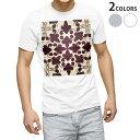 ショッピングマスク tシャツ メンズ 半袖 ホワイト グレー デザイン XS S M L XL 2XL Tシャツ ティーシャツ T shirt 000399 ペイズリー ダマスク 花