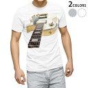 ショッピングギター tシャツ メンズ 半袖 ホワイト グレー デザイン XS S M L XL 2XL Tシャツ ティーシャツ T shirt 001007 ギター