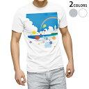 ショッピングイラスト tシャツ メンズ 半袖 ホワイト グレー デザイン XS S M L XL 2XL Tシャツ ティーシャツ T shirt 002424 景色 風景 イラスト