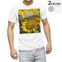 ショッピング写真 tシャツ メンズ 半袖 ホワイト グレー デザイン XS S M L XL 2XL Tシャツ ティーシャツ T shirt 002800 ひまわり 花 写真