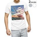 ショッピングイラスト tシャツ メンズ 半袖 ホワイト グレー デザイン XS S M L XL 2XL Tシャツ ティーシャツ T shirt 002842 海 乗り物 イラスト