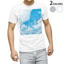 ショッピングデザイン tシャツ メンズ 半袖 ホワイト グレー デザイン XS S M L XL 2XL Tシャツ ティーシャツ T shirt 003474 空 写真 景色