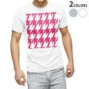 ショッピング鳥 tシャツ メンズ 半袖 ホワイト グレー デザイン XS S M L XL 2XL Tシャツ ティーシャツ T shirt 003960 千鳥柄 ピンク